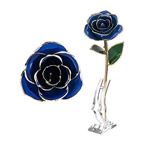Flor Rosa de Oro de 24 Quilates, Rosa de Oro Azul, Amor para Siempre, Tallo Largo, Rosa bañada en Oro de 24 Quilates, día de San Valentín, día de la Madre, Aniversario, Cumplea