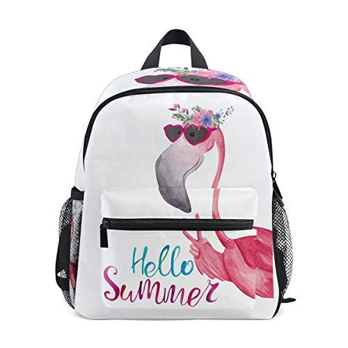 Mochila infantil con diseño de flamencos y corona de flores para niños y niñas, mochila escolar con correa en el pecho