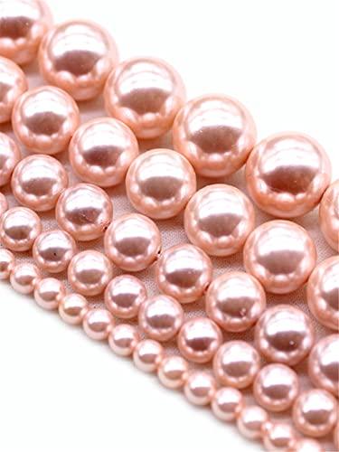 Perlas espaciadoras redondas sueltas de oro rosa natural para hacer joyas DIY pulsera collar accesorios 15 pulgadas 6/8/10/12 mm oro rosa 6 mm aproximadamente 63 cuentas