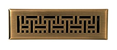 Accord AMFRABB210 Floor Register with Wicker Design, 2-Inch x 10-Inch(Duct Opening Measurements), Antique Brass