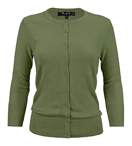 YEMAK Women's Knit Cardigan Sweater – 3/4 Sleeve Crewneck Basic Classic Casual Button Down Soft Lightweight Knitted Top CO079-SAG-1X