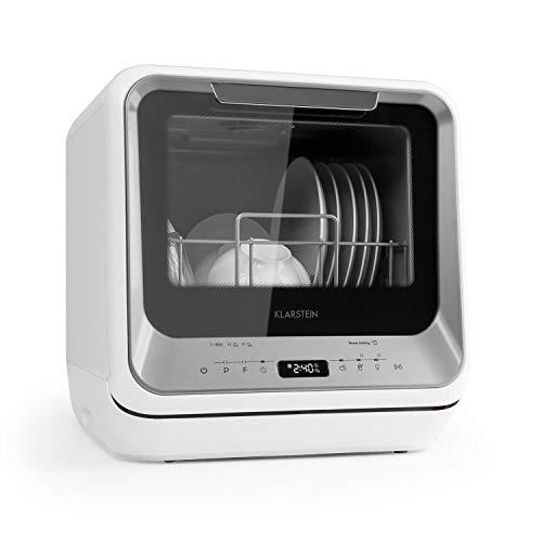 Klarstein Amazonia Mini Spülmaschine Geschirrspüler Geschirrspülmaschine (, Platz für 2 Maßgedecke, 6 Programme, 5 Liter Wasser benötigt, LED-Display, Touch, inkl. Zubehör) silber
