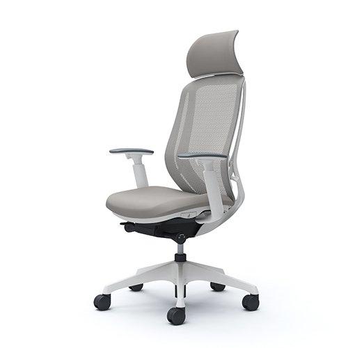 オカムラ オフィスチェア シルフィ― エキストラハイバック メッシュ アジャストアーム 樹脂脚 ホワイトフレーム  デスクチェア C68AXW-FMR3 ライトグレー