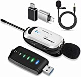 Wireless lavalier Microphone for iPhone & Computer -Alvoxcon USB Lapel Mic System for Android, PC, Laptop, Speaker, Podcasting, Vlog, YouTube, Conference, Vocal Recording, Gaming (with Monitor Jack)