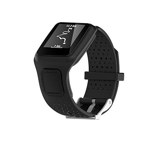 Kobwa TomTom Correa de reloj de silicona de repuesto para TomTom Runer/TomTom Runner Cardio/TomTom Multi-Sport GPS HRM y más Smartwatch, color negro