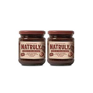 NATRULY Crema de Avellanas y Cacao Sin Azúcar y Sin Edulcorantes, Endulzada con Fibra de Achicoria, Sabor Chocolate con Leche (Pack 2*300g)