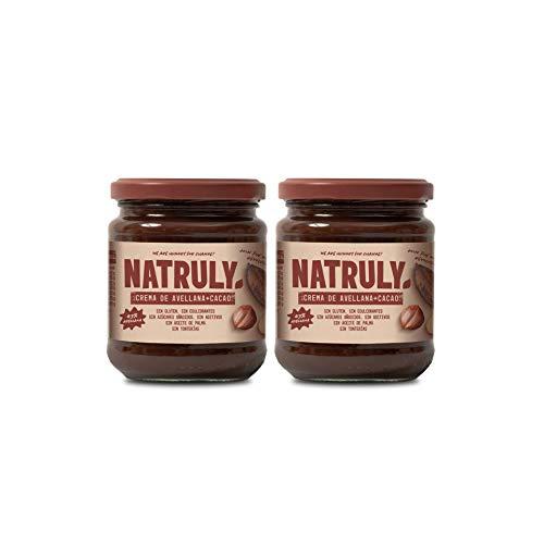 NATRULY Crema di Nocciole Senza Zucchero con Cacao e Dolcificanti, Addolcita con Fibra di Cicoria, Gusto Cioccolato al Latte -Pack 2x300g