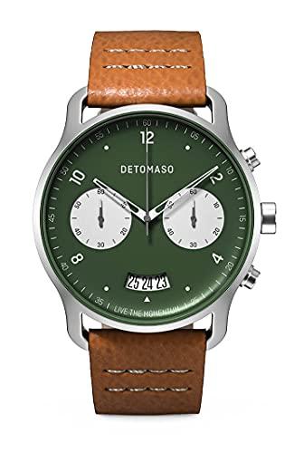 DETOMASO SORPASSO Chronograph Bicolor Green Herren-Armbanduhr Analog Quarz Lederarmband Braun