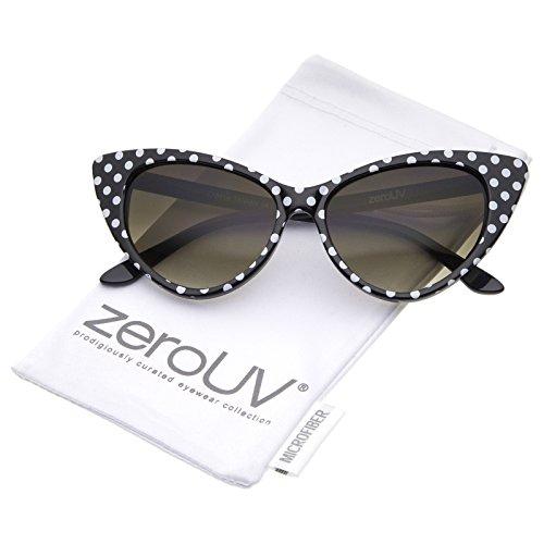 zeroUV - Polka Dot Cat Eye Womens Mod Fashion Super Cat Sunglasses (Black-White/Smoke Gradient)