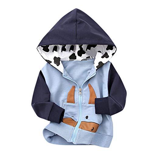 Toddler Kids Boys Girls Hooded Jacket Coat Fineser Baby Long Sleeve Pocket Cartoon Zip Hoodie Outwear Winter Autumn Clothes (Light Blue, 6-12 Months(80))