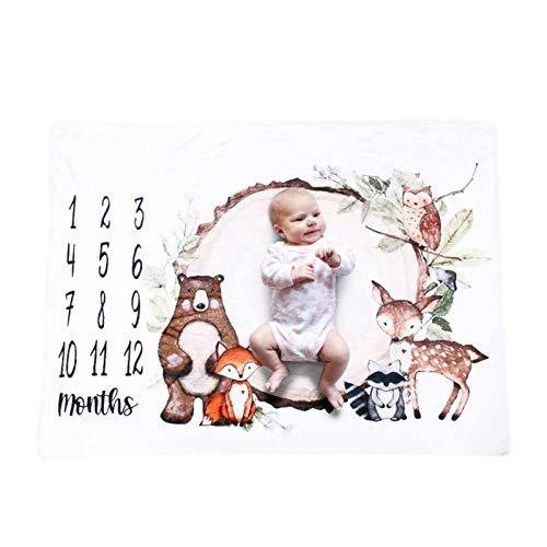 lennonsi Manta para recién nacidos, niñas, jóvenes, para fotografía, para bebés, como regalo mensual, manta mensual, manta de franela 100 × 75 cm