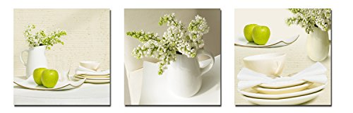 Wieco Art Elegant Life Canvas Prints Wall Art Grace Flowers Pictures Photo Paintings for Bedroom Bar Home Decorations Modern 3 Panels Stretched and Framed Decorative Green Floral Giclee Artwork