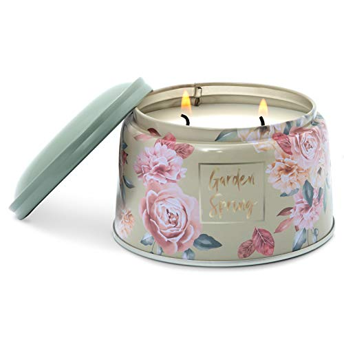 Spring Scented Tin Candle for Home 9.8oz Large Jar Candle for Women Relaxing 25H Soy Wax Aromatherapy Celebrating/Housewarming 2 Wicks(Peony Blush)