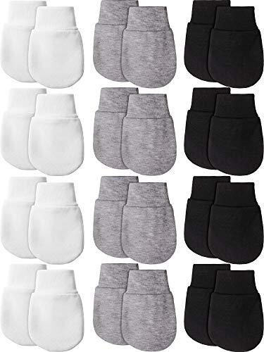 12 Paare Neugeborene Baby Fäustlinge Handschuhe Baumwolle Kein Kratzen Baby Fäustlinge für 0-6 Monate Baby Jungen Mädchen (Weiß, Grau, Schwarz)