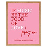 Quote Shakespeare Music Food Love Play On Art Print Framed