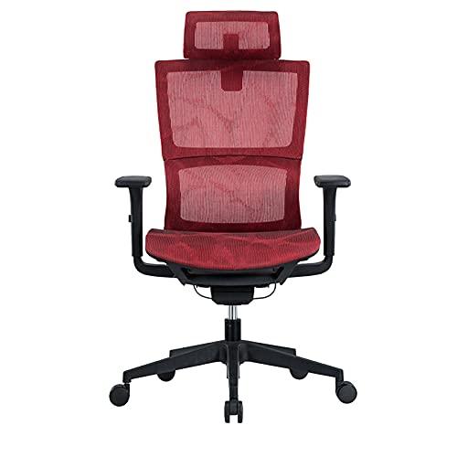 Ergonomische bureaustoel met 3D-armleuningen en lendensteun mesh stoel en verstelbare hoofdsteun thuis bureaustoel rood-B