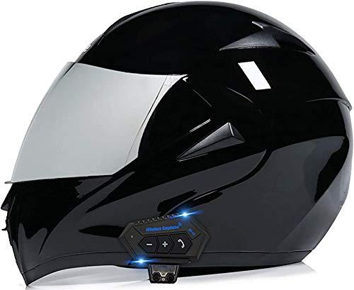 Feeyond Casco Bluetooth para motocicleta, modular tipo flip-tipo doble visera completa, casco certificado DOT, sistema integrado de comunicación de intercomunicación, F,L