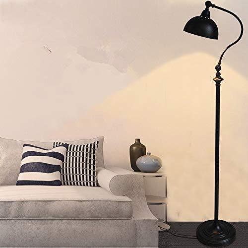 QIDOFAN Lámpara de pie para sala de estar, lámpara de pie de hierro, lámpara de mesa retro creativa, lámpara de pie LED bombillas para comedor, metal níquel cepillado E27 interior