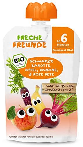 Freche Freunde Bio Beikost-Quetschie Schwarze Karotte, Apfel, Banane & Rote Bete, Babynahrung ab dem 6. Monat mit Gemüse, glutenfrei & vegan, 6er Pack (6x100g)