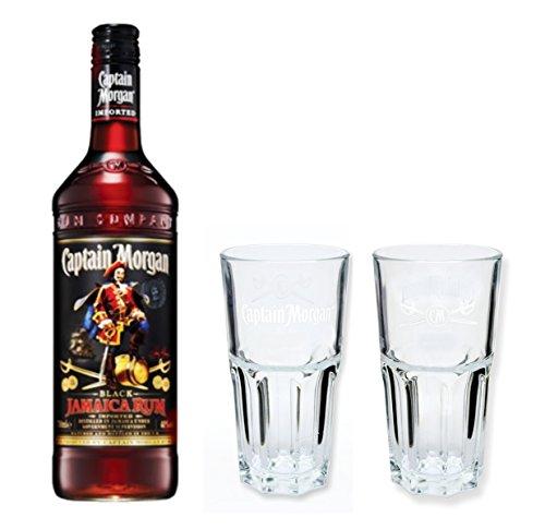 Captain Morgan Black Label Rum 40{f2296d1acd0f3725b5d12d7f33255d255e6c5f7b8a276b51f983aeeccf856a87} 0,7l Set + 2 Longdrinkgläser