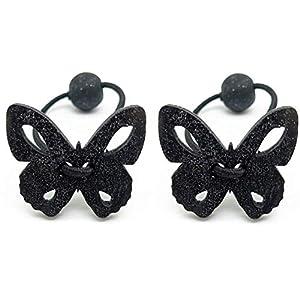 2-er Haargummi SET Schmetterling Holz Harrgummi für Frauen Haar Gummibänder Haarbänder Elastischer Bunte Haarschmuck…