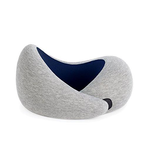OSTRICHPILLOW GO Cuscino da viaggio portatile visco-elastico con memory foam, per rilassare collo in aereo, treno, auto – Colore Blu Scuro - Blue