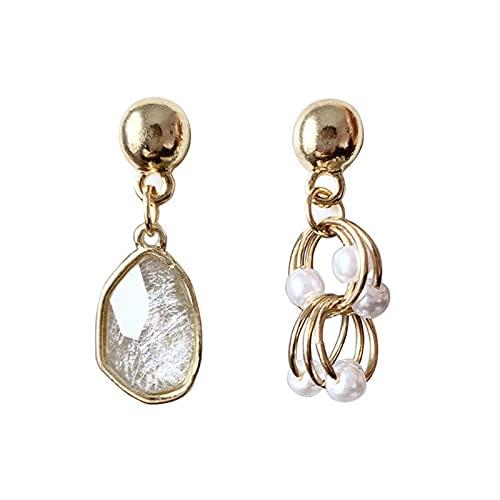 Pendientes de moda de perlas de metal asimétrico de aguja de plata S925 Pendientes de temperamento Clips de oreja Pendientes de personalidad