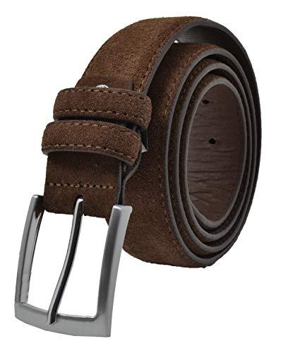 GreSel Cintura Scamosciata Uomo e Donna, Vera Pelle, Made in Italy, Accorciabile (120 (TAGLIA 52-54), Marrone)