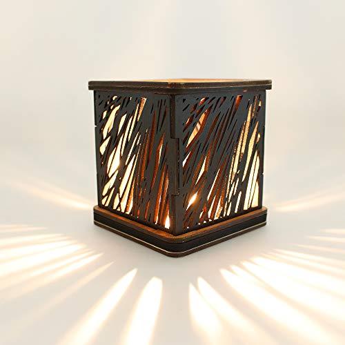 G4 DANSK Porta Velas Decorativo MDF enchapado. Diseño Estilo Bamboo. 11.2 x 11.2 cm. Base y encimera Caoba, Pantalla Negro