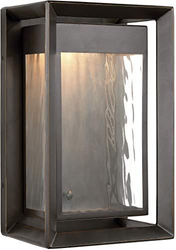 "Feiss OL13701ANBZ-L1 Urbandale StoneStrong LED Marine Grade Outdoor Patio Lighting Wall Lantern, Bronze, 1-Light (8""W x 13""H)"