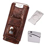 AMANCY 3 Holder Classy Black Brown Crocodile Pattern Leather Cigar Humidor Case Set with Lighter and Cutter - Great Cigar Gift Kit
