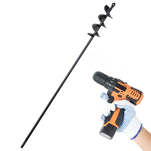 SETROVIC Auger Drill Bit for Planting Bulbs Garden Drill Planter Drill Auger Bulb & Bedding Plant Auger for 24' Long 2' Wide Helix Hex Drive Drill Earth Auger Drill Post Hole Digger (2'x24', Black)