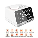 TSWTECH Dual Alarm Clock with Bluetooth Speaker,White Noise Machine,Sleep Sound Machine with FM Radio,Dual USB Charging Ports,Snooze Function,Temperature Time LED Display