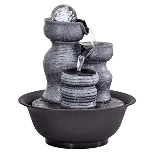 Fuente de Escritorio Fuente de Paisaje de Resina Creativa Fuente de Agua Interior Decoración de Escritorio Estatua Piedra de montaña Fuente de Feng Shui Fuente de la Mesa (Color : D)