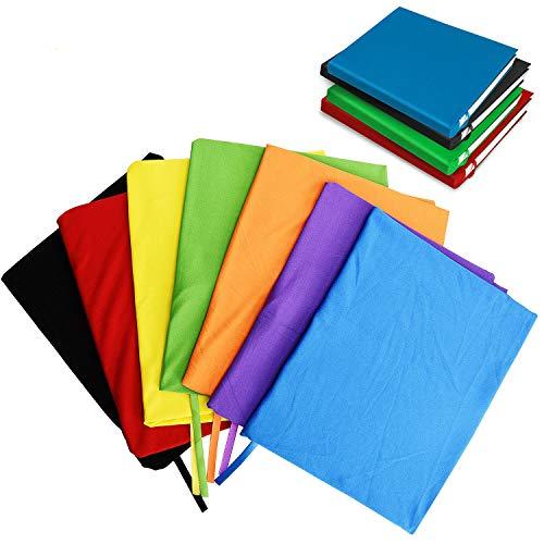 TOBWOLF dehnbare Buchumschläge mit Etiketten-Aufkleber, waschbar, langlebig, Schutzstoff, für Lehrbücher, bis zu 22,9 x 35,6 cm, solide sortiert, passend für die meisten Hardcover-Bücher
