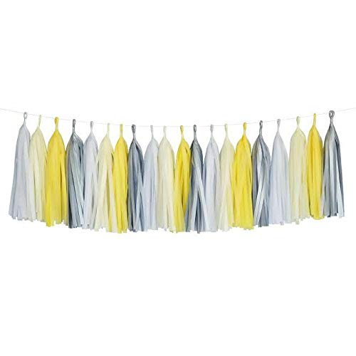 Yellow Ivory White Gray Party Paper Garland Decorations Glitter Tassel for Christmas Baby Shower Birthday Nursery Décor