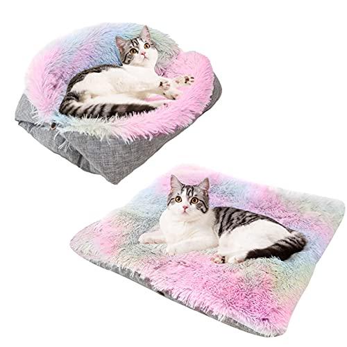 Souarts - Cama para gato, cama para perro con doble uso, manta para perro, gato, nido de gato, perro, casa, gato, cómoda, cálida, nido para cachorro, ultrasuave, cojín blando (rosa)