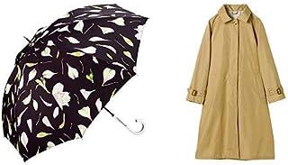 【セット買い】ワールドパーティー(Wpc.) 雨傘 長傘 黒 58cm plantica×Wpc.フラワーアンブレラロング PL006-09 BK+レインコート ポンチョ レインウェア ベージュ FREE レディース 収納袋付き R-1102 BE
