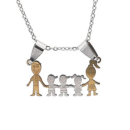 BOSAIYA PJ 1 UNID en General Collar de Acero Inoxidable Mama Familia Collares Joyería Color Plata Amor Boy Girl Colgante Gargantilla Collar Mujer Regalo TL821 (Metal Color : Gold Silver 5 People)