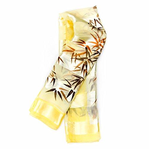 MANUMAR Schal für Damen | Hals-Tuch in gelb weiß mit Blumen Motiv als perfektes Herbst/Winter-Accessoire | Klassischer Damen-Schal | Stola | Mode-Schal | Geschenkidee Frauen und Mädchen