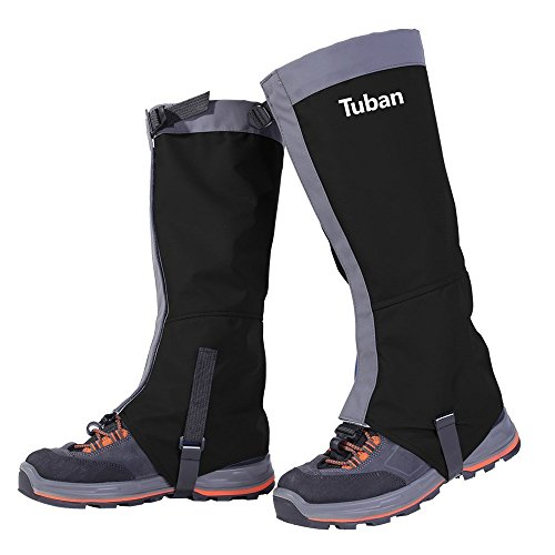 Tuban Hiking Gaiters Ski Snow Gaiters Waterproof Boot Gaiters Leg Gaiters High Gaiter Breathable 420d Nylon Men's Gaiters TPU Strap (Black) L