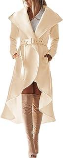 معطف شتوي من الصوف للنساء من SAUKOLE بياقة كبيرة ورقبة منخفضة مع حزام