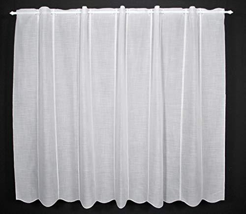 Scheibengardine Käseleinenoptik 120 cm hoch | Breite der Gardine durch gekaufte Menge in 16 cm Schritten wählbar (Anfertigung nach Maß) | Weiß | Vorhang Küche Wohnzimmer