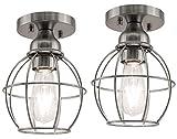 YaoKuem Semi Flush Mount Ceiling Light Fixture, E26 Medium Base, Metal Housing, Bulbs NOT Included, 2-Pack (Nickel Finish)