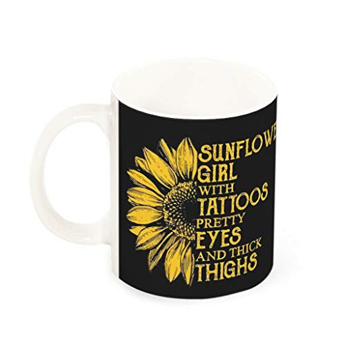 YxueSond zonnebloem meisje met tatoeages mooie ogen en dikke dijen Classy koffie mokken geweldig