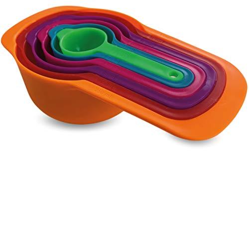 Messlöffel Set, Messbecher Set, 6-teilig mit Griff | platzsparendes Design | 7,5ml 15ml 80ml 85ml 125ml 250ml gravierte Maße | Esslöffel tbsp und Tassen cups, für trockene und flüssige Zutaten