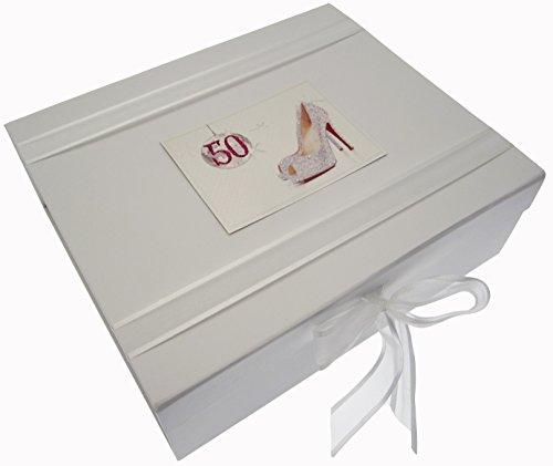 White Cotton Cards Boîte souvenir 50ème anniversaire Boule de paillettes et chaussures (Large)