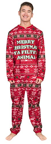 Home Alone Merry Christmas Ya Filthy Animal Red Pajama Union Suit (Adult Medium)