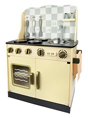Leomark Vintage Retro Cocina Madera Infantil De Juguete - color Crema - con accesorios, Para Niños Juego de Imitación, Dim: 30x57x75 (altura) cm