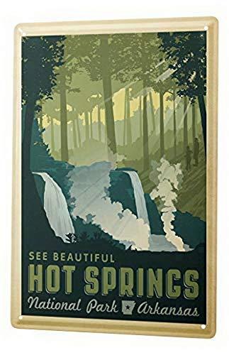 Kysd43Mill Blechschild Globetrotter National Park Hot Springs Metall Warnschild, Gefahrenschild, Privates Eigentum Schild, Hofschild, Hinweisschild